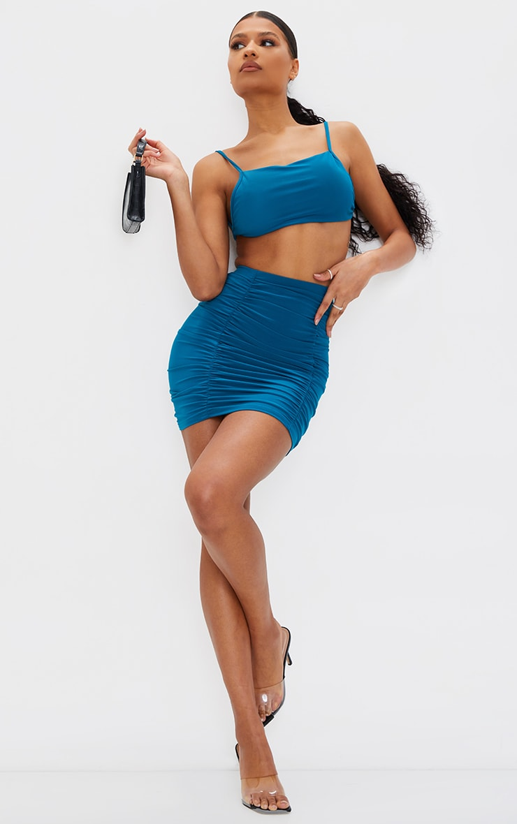 Teal  Slinky Double Ruched Seam Mini Skirt 1
