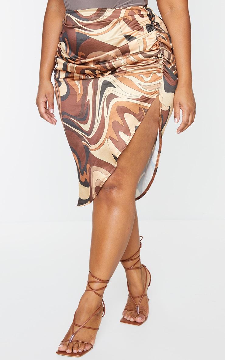 Plus Brown Marble Print Ruched Side Split Midi Skirt 2