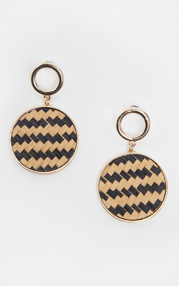 Boucles d'oreilles dorées à pendants disques osier 2