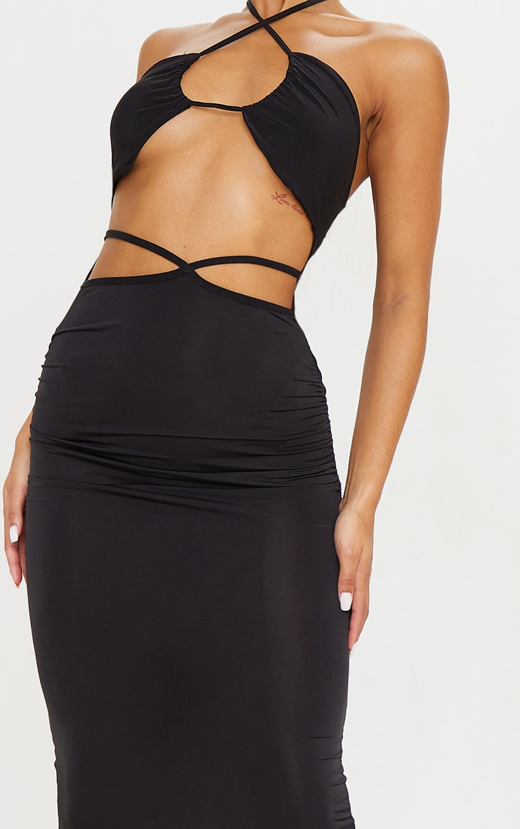 Black Slinky Halterneck Cut Out Strappy Detail Midaxi Dress 4