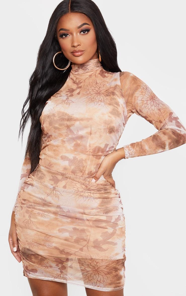 Shape Nude Oriental Print Long Sleeve Bodycon Dress 1