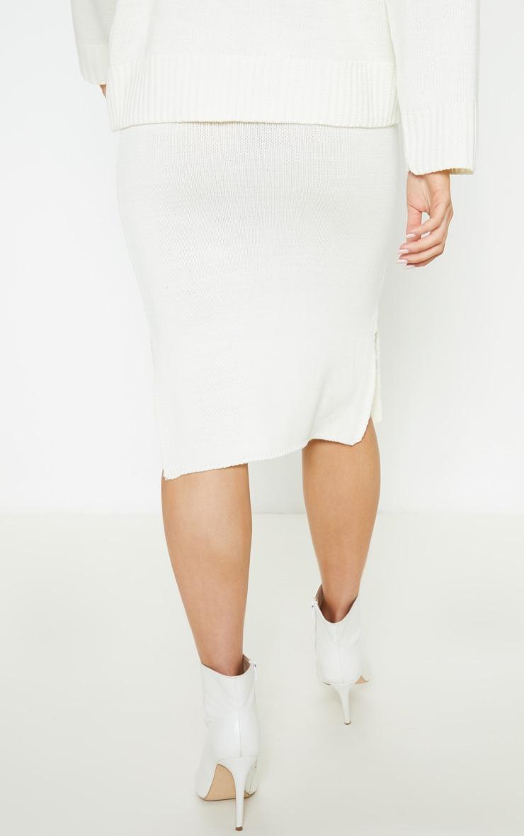 Cream Midi Knitted Skirt  4