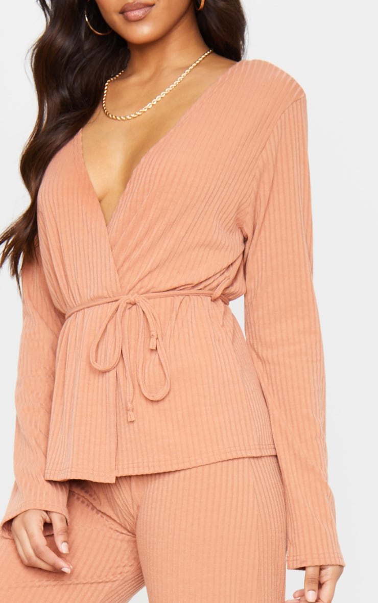 Peach Wrap Cardi And Wide Leg Knitted Lounge Set 5
