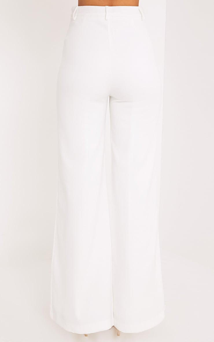 Reemah Cream Wide Leg Crepe Trousers 4