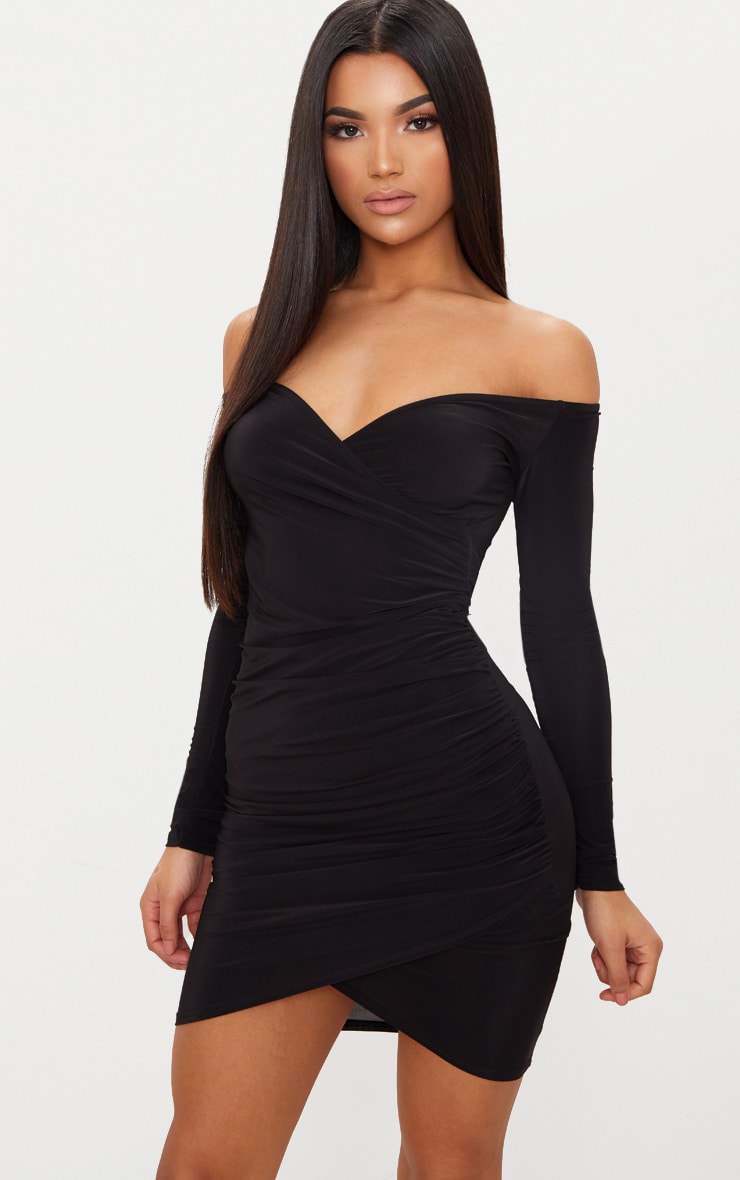 Black Slinky Ruched Bardot Dress Pretty Little Thing Cheap Sale Looking For Inexpensive Buy Cheap Fashion Style Cheap Store Visa Payment For Sale 1VOIdbIO4a