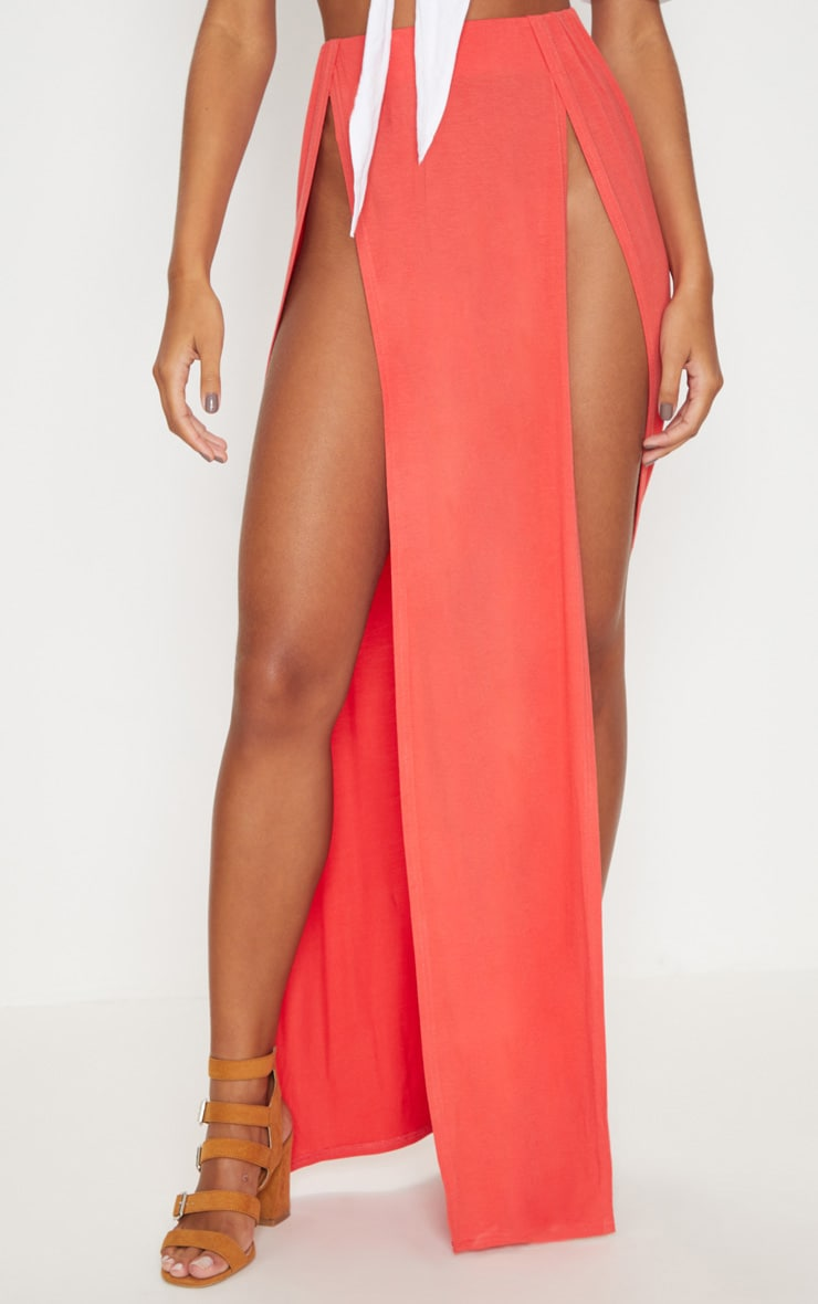 Tangerine Double Split Maxi Skirt 2
