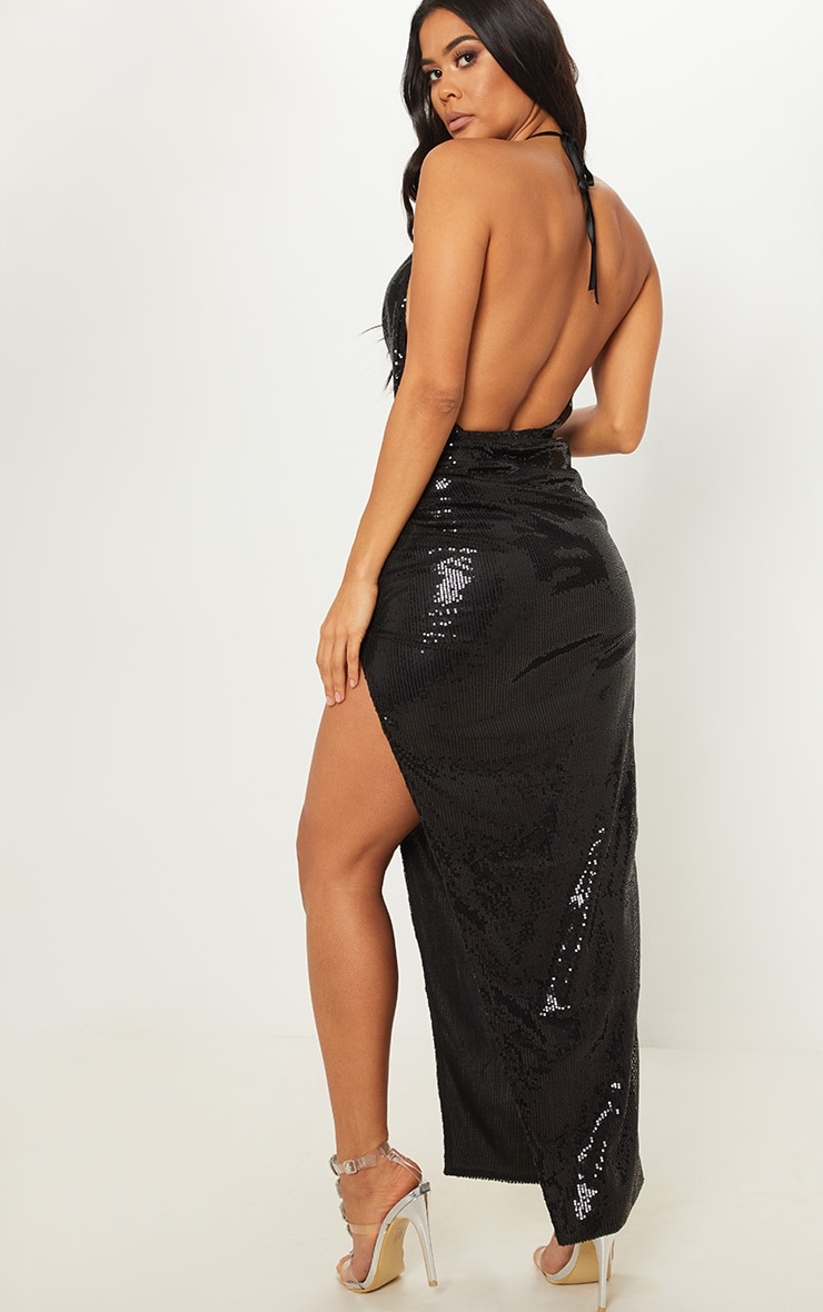 Black Sequin Cowl Neck Split Leg Maxi Dress 2