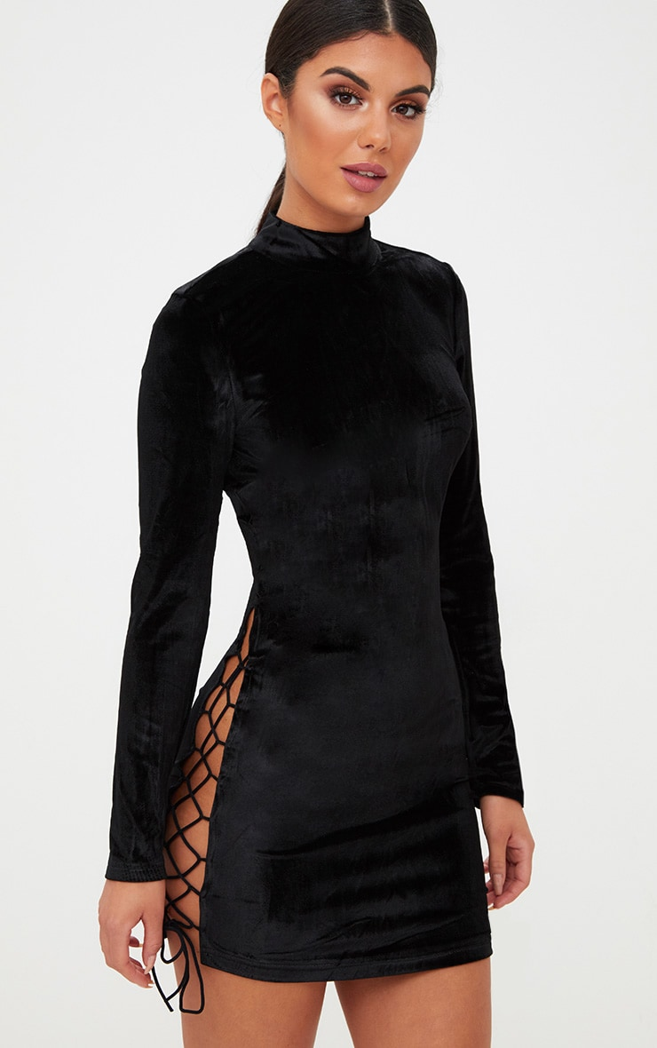 Black Velvet Side Lace Up Bodycon Dress 1