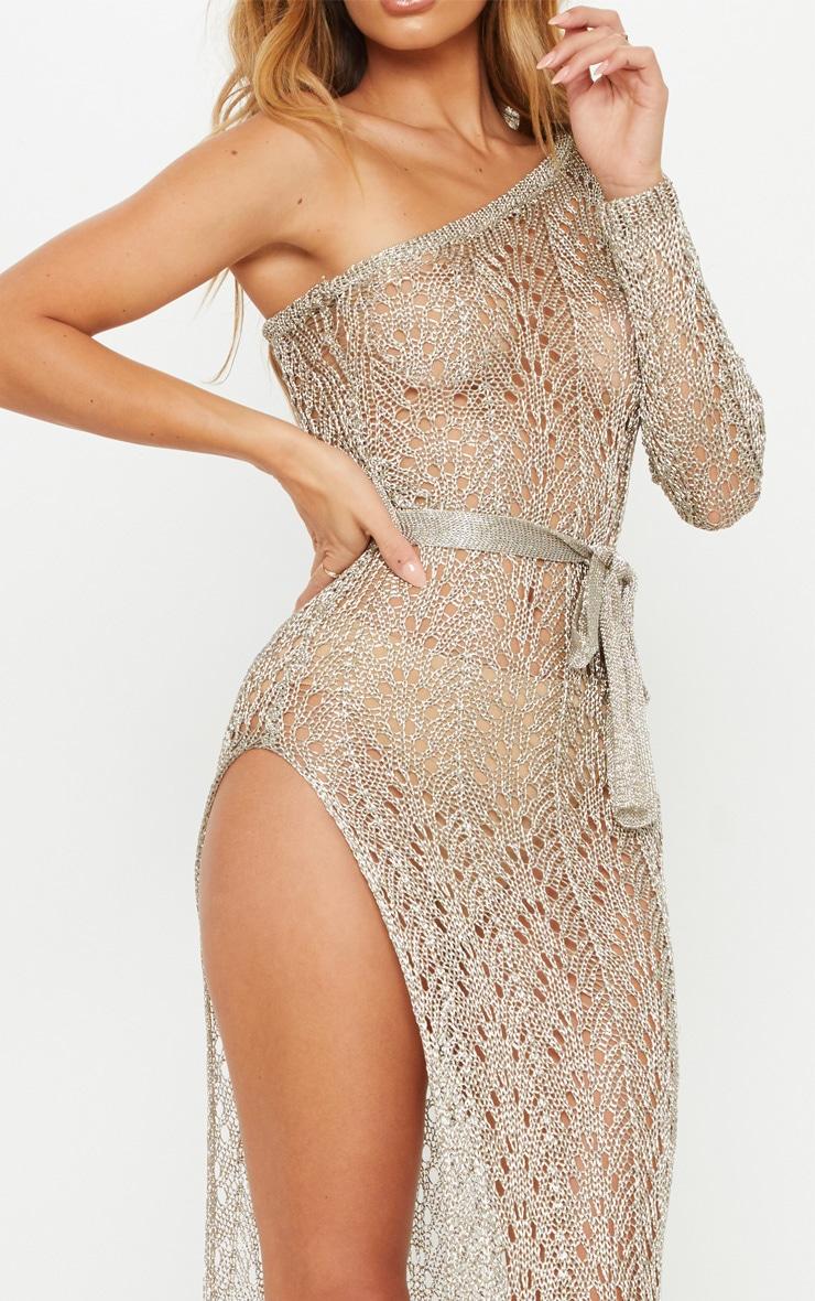 Silver Asymmetric Open Knit Metallic Dress 5