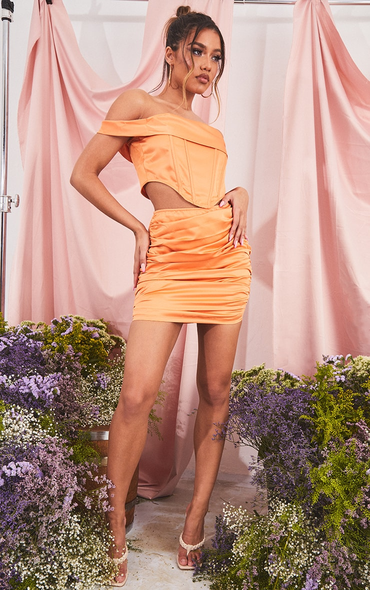 Orange Structured Satin Ruched Front Mini Skirt image 1