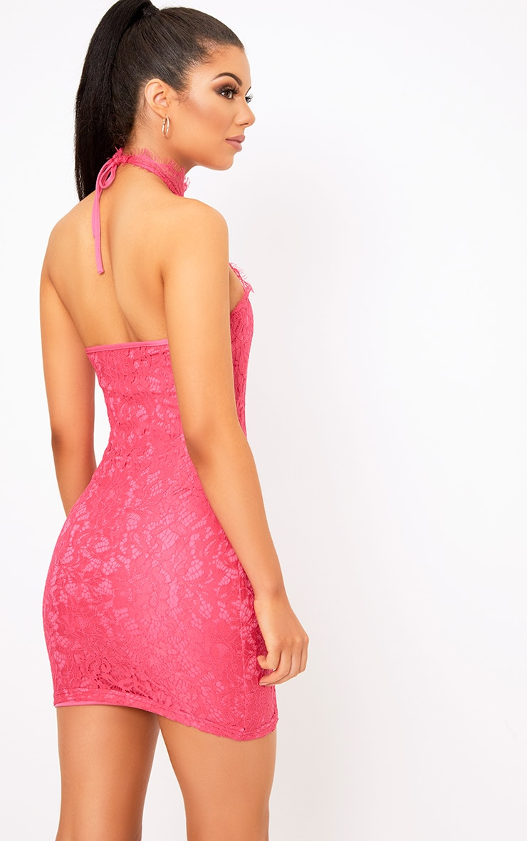 Shelby Hot Pink Lace High Neck Bodycon Dress 2