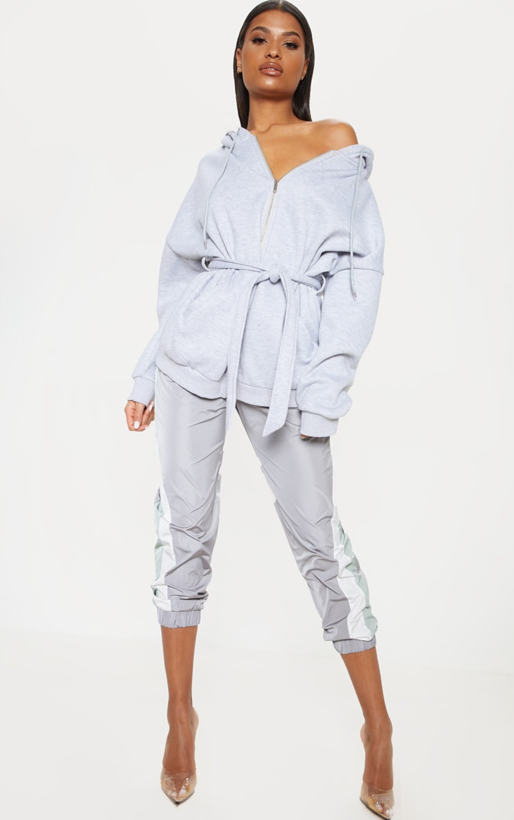 Grey Oversized Belted Sweat Hoodie 4