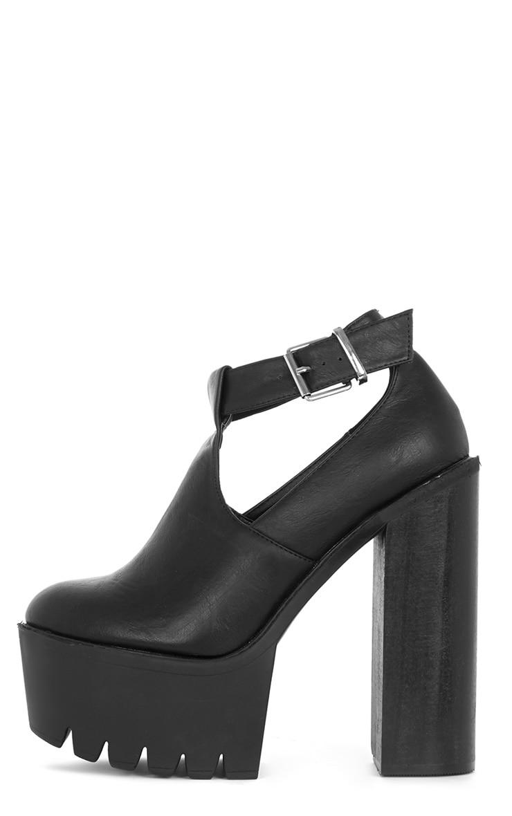 Felicia Black Chunky Heel Ankle Strap Sandal 1