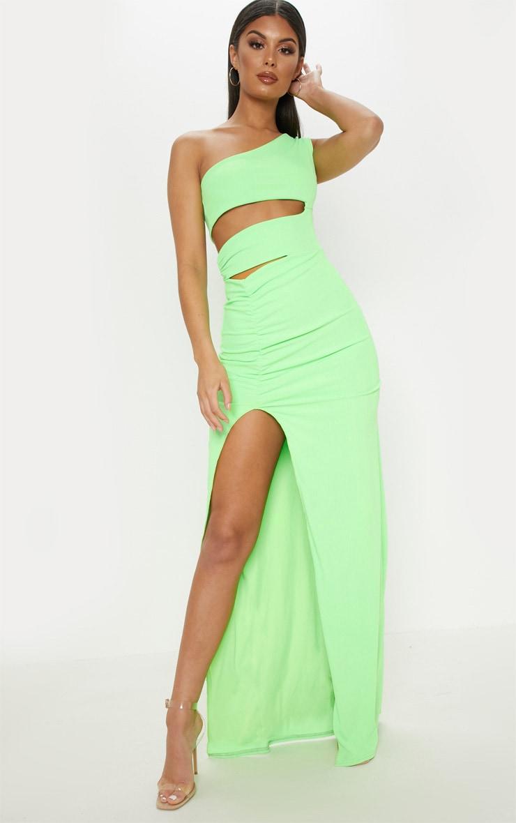 Neon Lime Slinky Rib Cut Out Split Maxi Dress 1