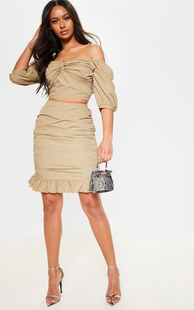 Stone Ruched Detail Frill Hem Skirt