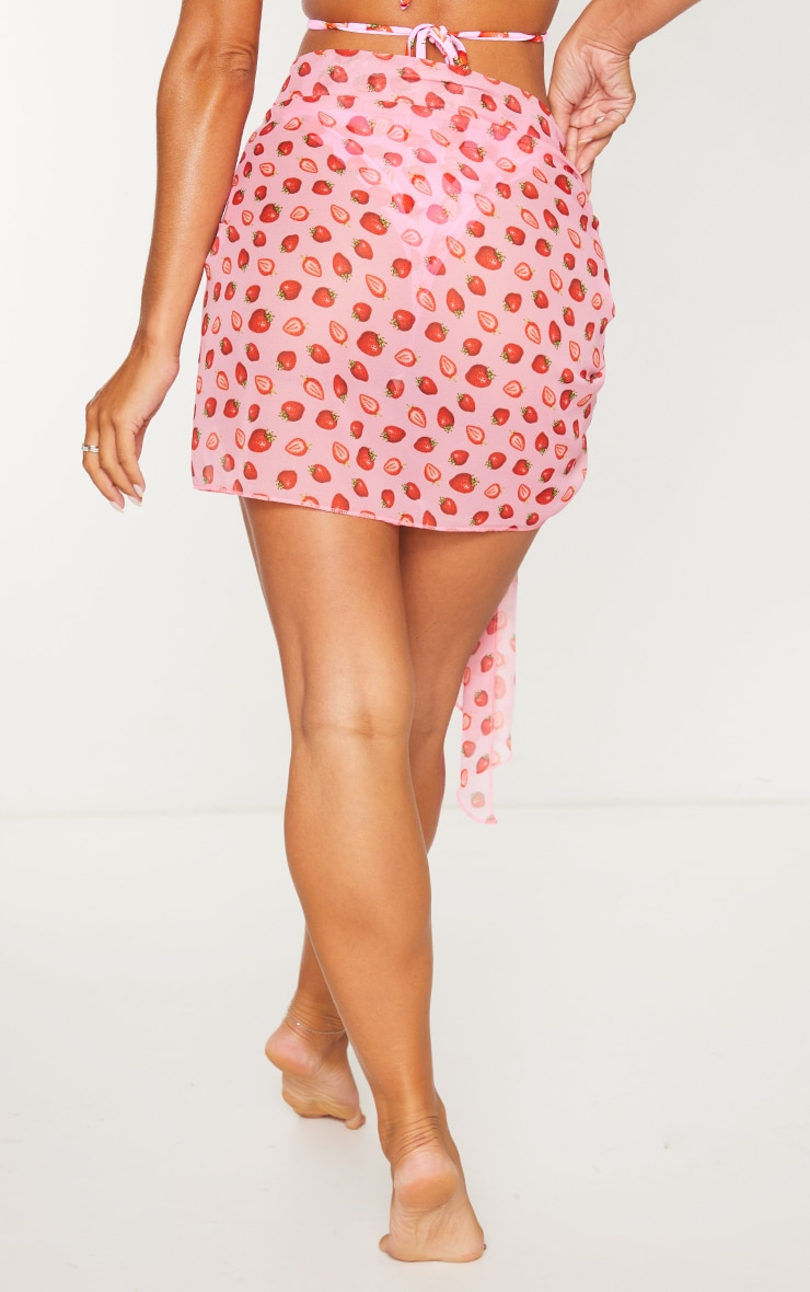 Pink Strawberry Print Contrast Tie Sarong 3