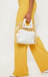 White Croc Handle Clear Bag 1