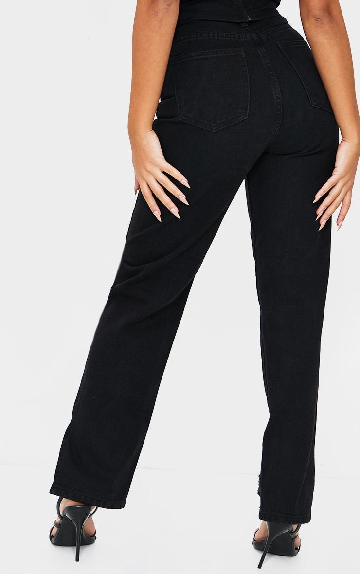 Petite Black Wash Ripped Split Hem Straight Leg Jeans 3