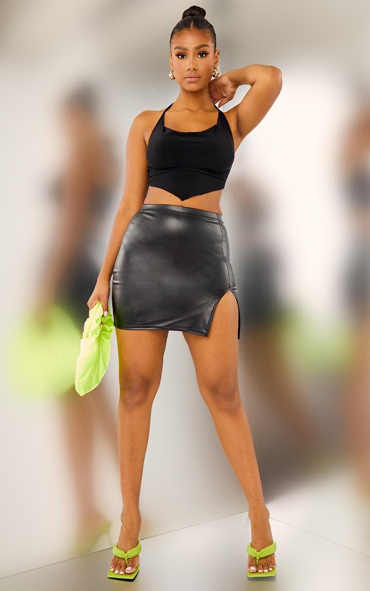 Black Faux Leather Split Front Mini Skirt 1