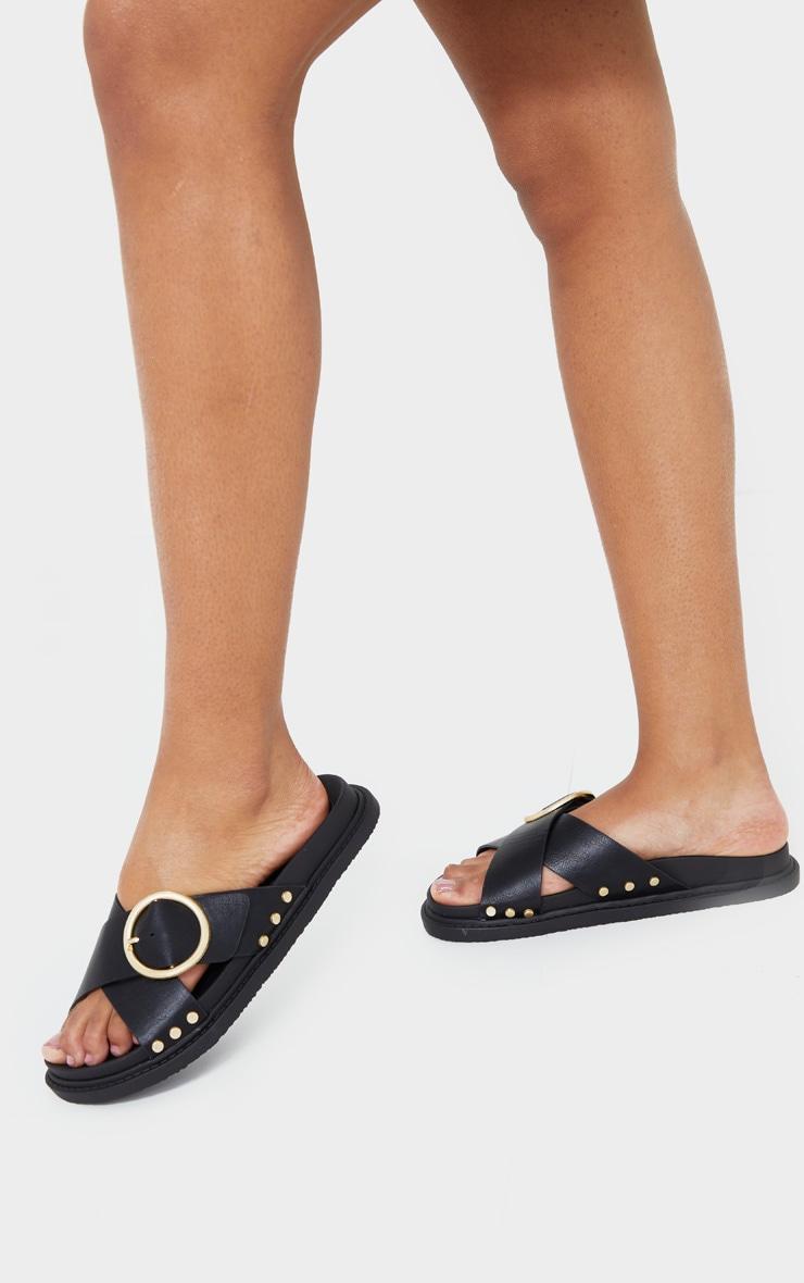 Black Cross Strap Buckle Detail Mule Sandal 1