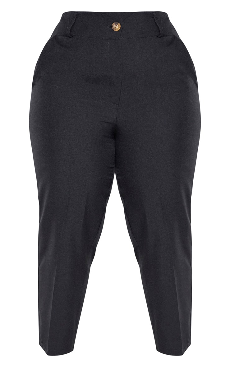 Plus Black Woven Tapered Trouser  3
