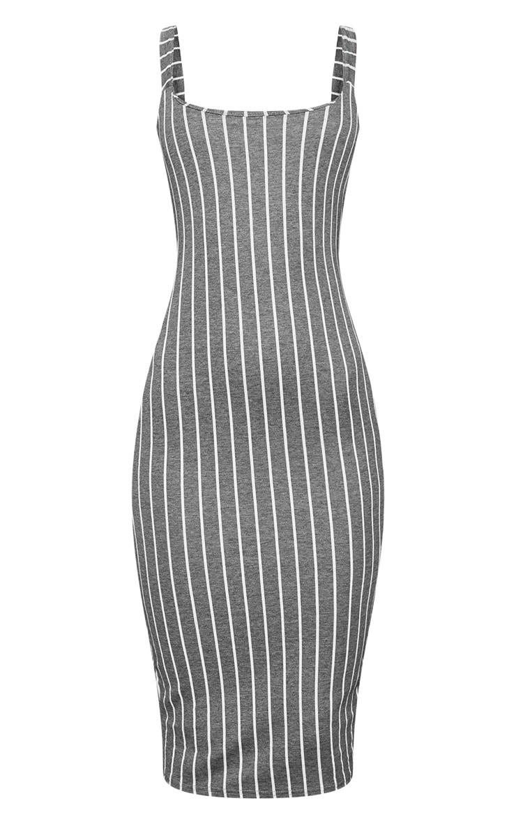 Grey Striped Midi Dress 3
