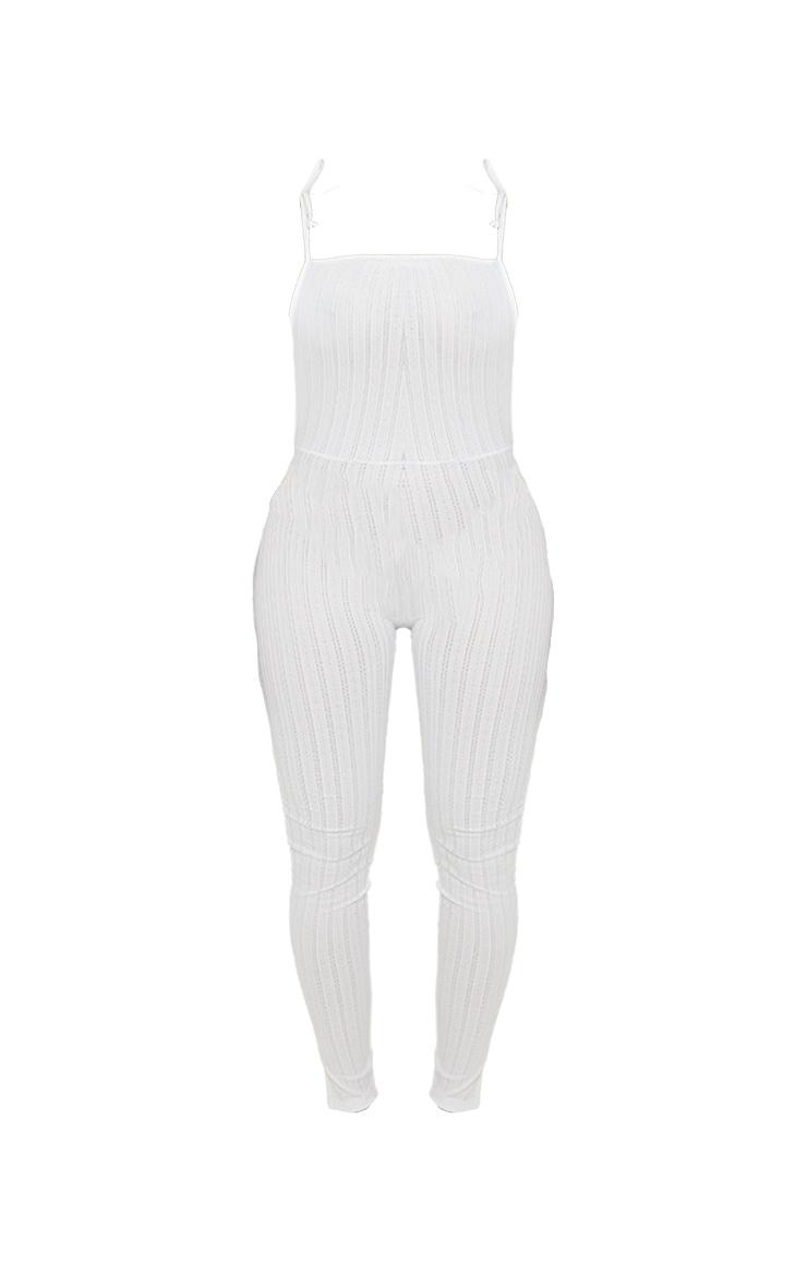 Shape White Sheer Textured Strappy Back Split Hem Jumpsuit 5