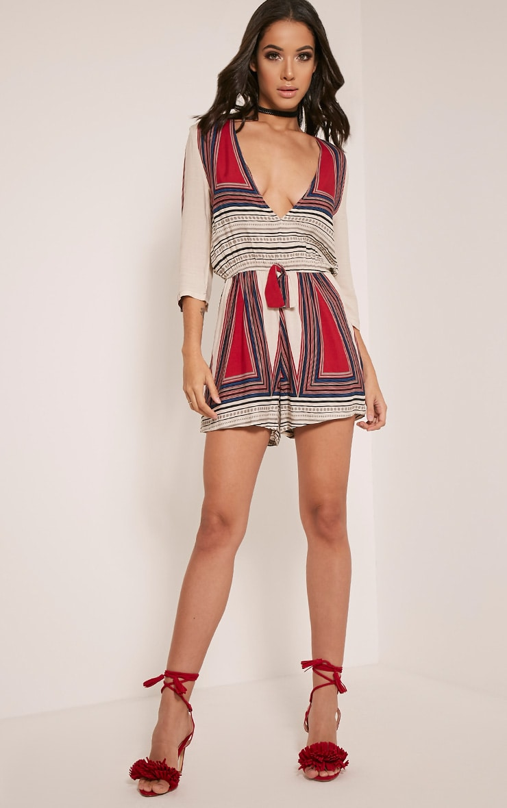 Chassie Pink Printed Plunge Playsuit 5