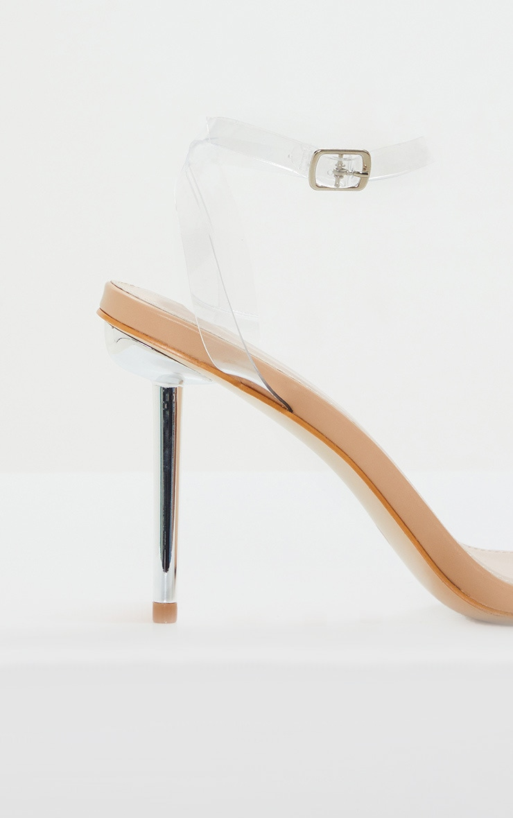 Sandales nude à talon aiguille métallique et brides transparentes 3