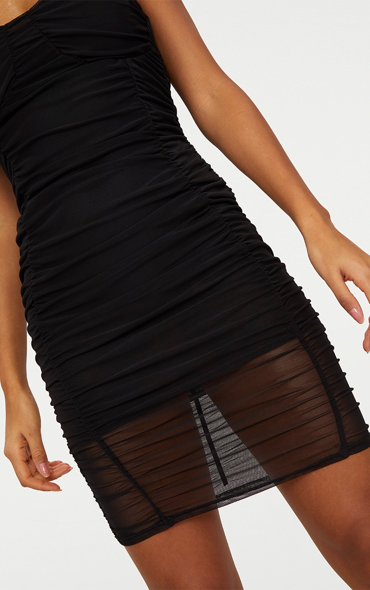 Black Mesh Ruched Panel Detail Bodycon Dress 5