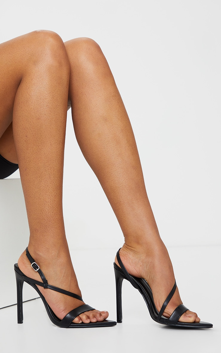 Black Wide Fit Asymmetric Strap Point Toe Heeled Sandal 1