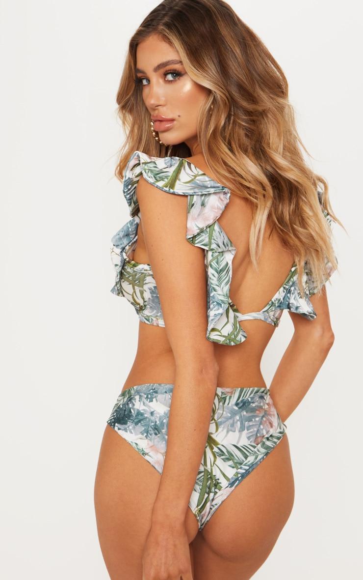 Pale Khaki Leafy Frill Tie Front Bikini Top 2