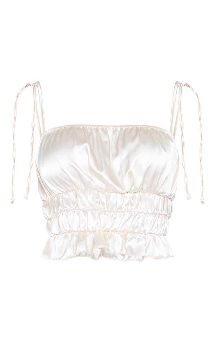 Champagne Satin Ruched Tie Detail Cami 3