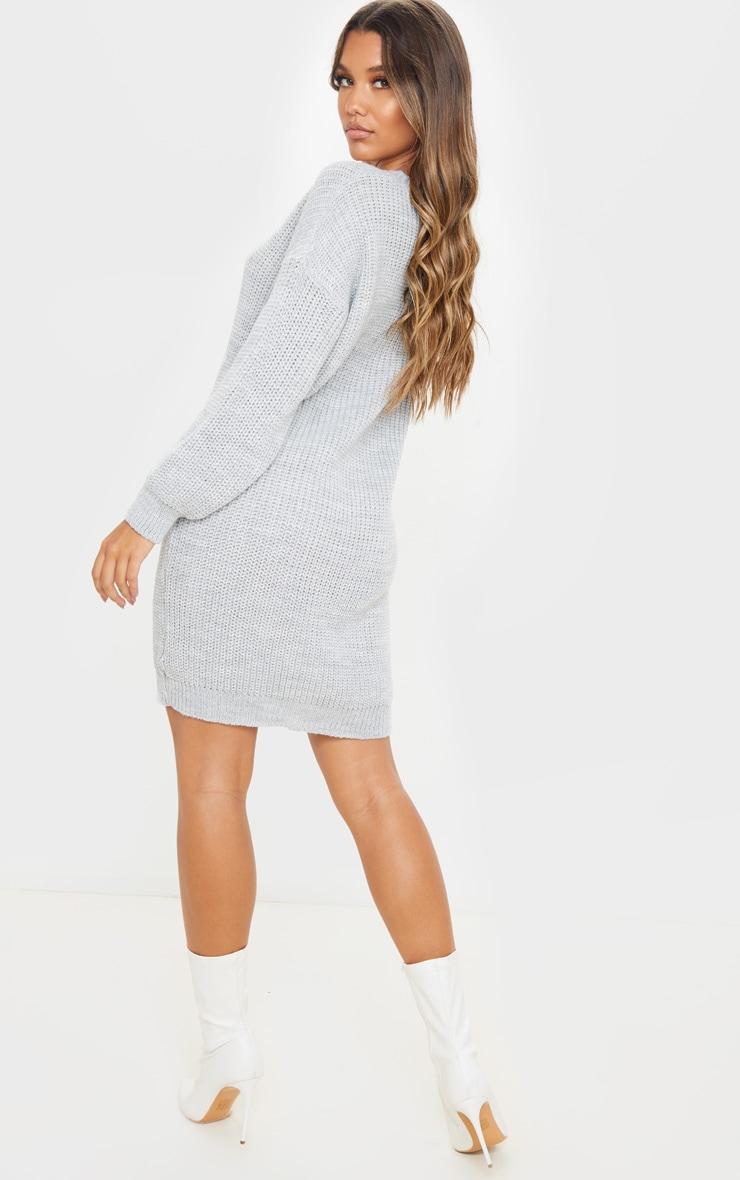 Grey Basic Knit Sweater Dress 2