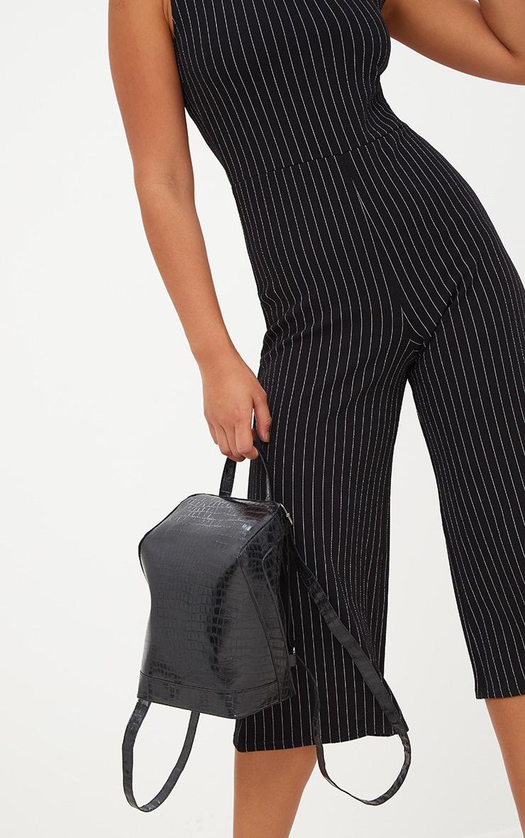 Black Striped High Neck Culotte Jumpsuit 5