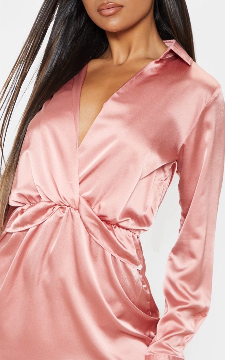 Katalea Rose Twist Front Silky Shirt Dress 5