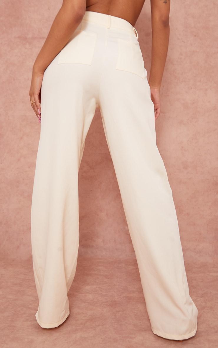 Cream Woven Wide Leg Suit Trousers 3