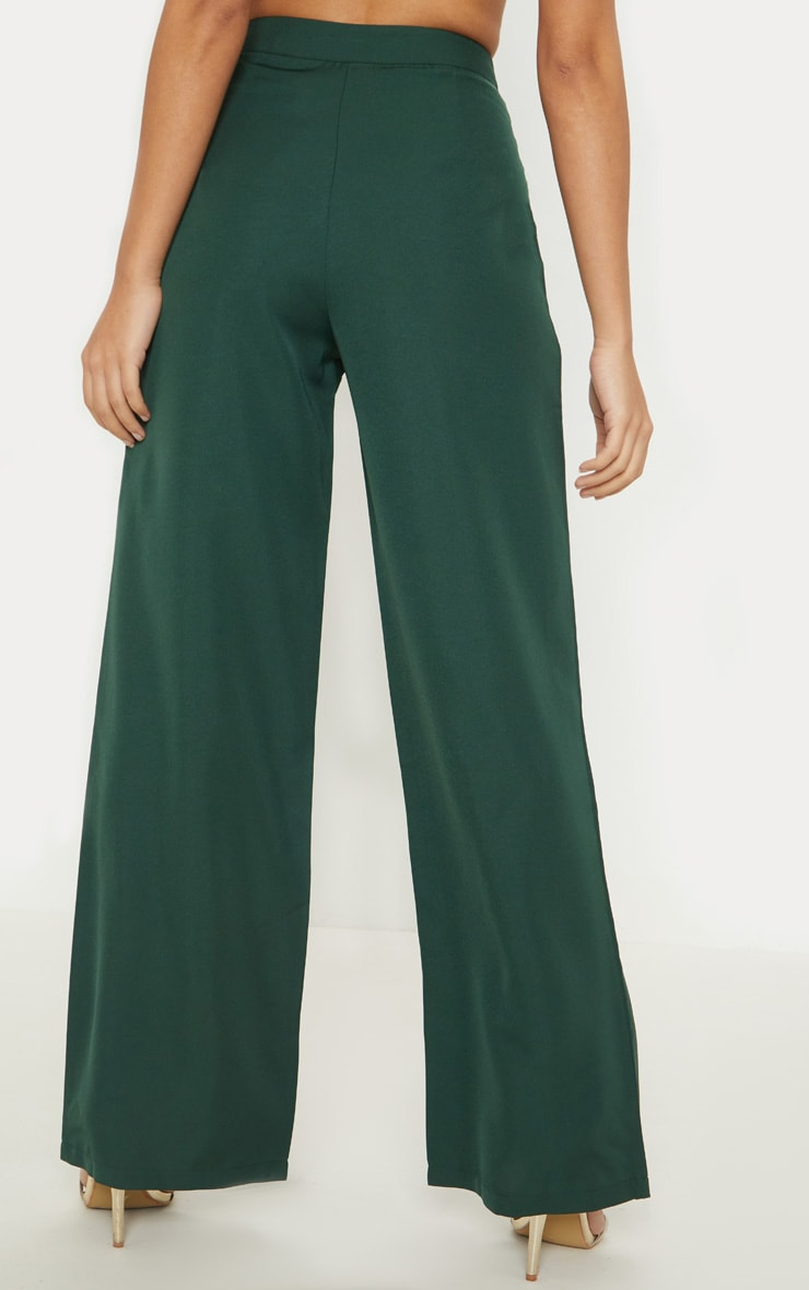 Petite Emerald Green Button Detail Wide Leg Pants 4