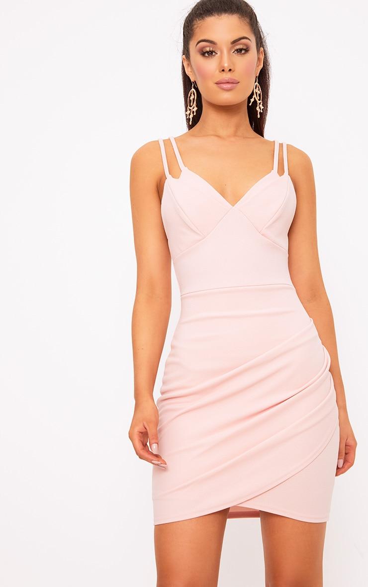Pale Nude Double Strap Wrap Skirt Bodycon Dress 1