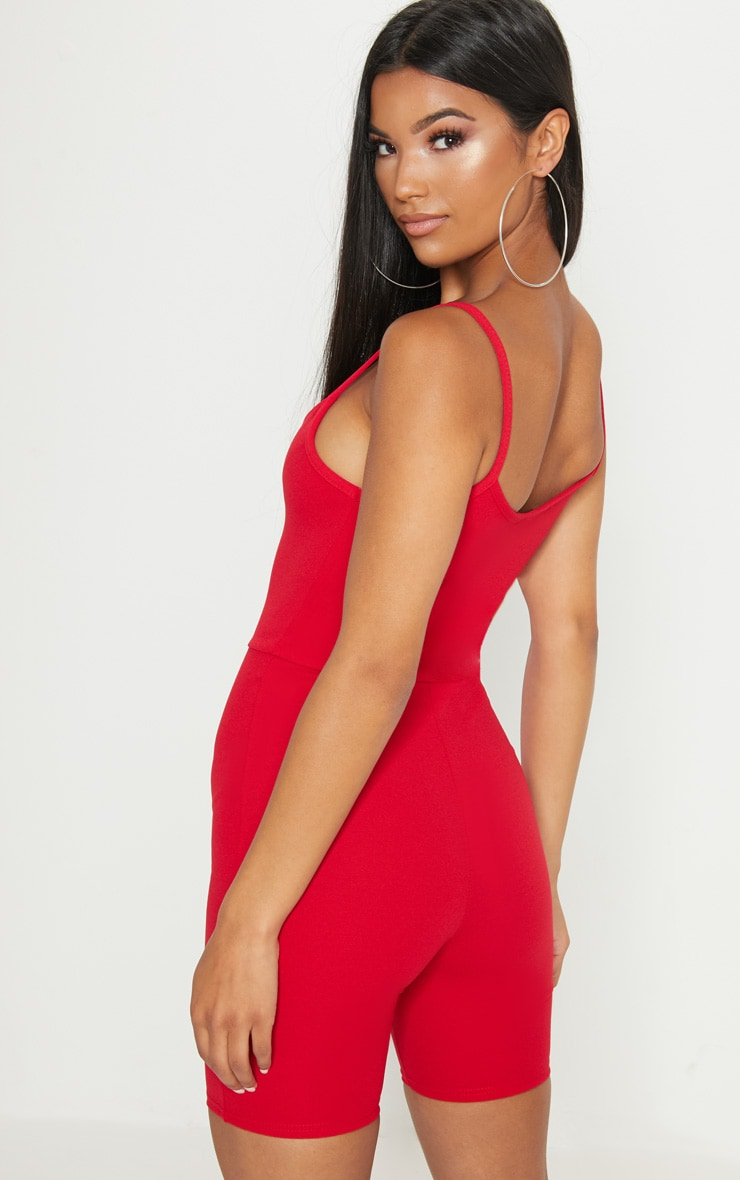 Red V Plunge Strappy Unitard 2