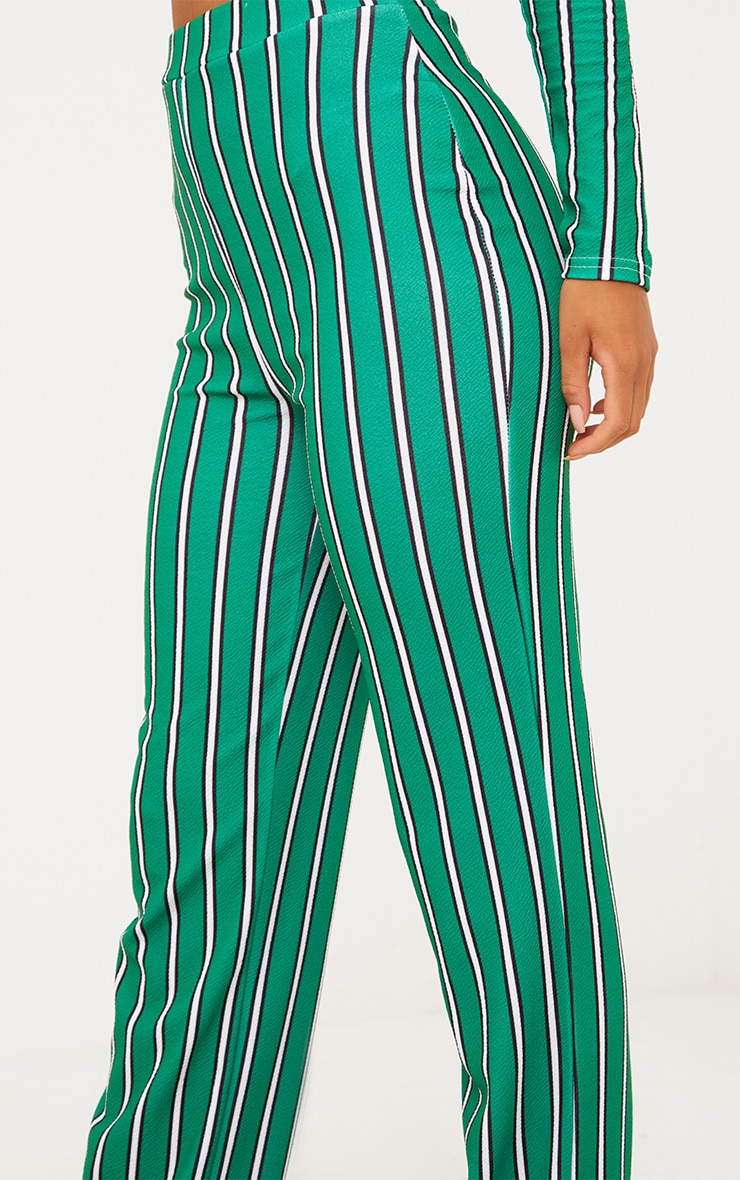 Green Stripe Straight Leg Suit Trousers 6