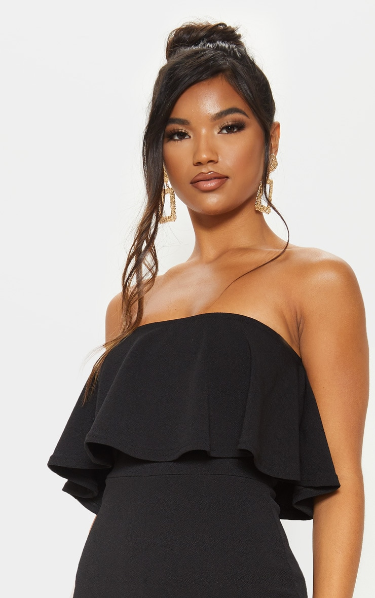 Black Bardot Double Layer Culotte Jumpsuit 5