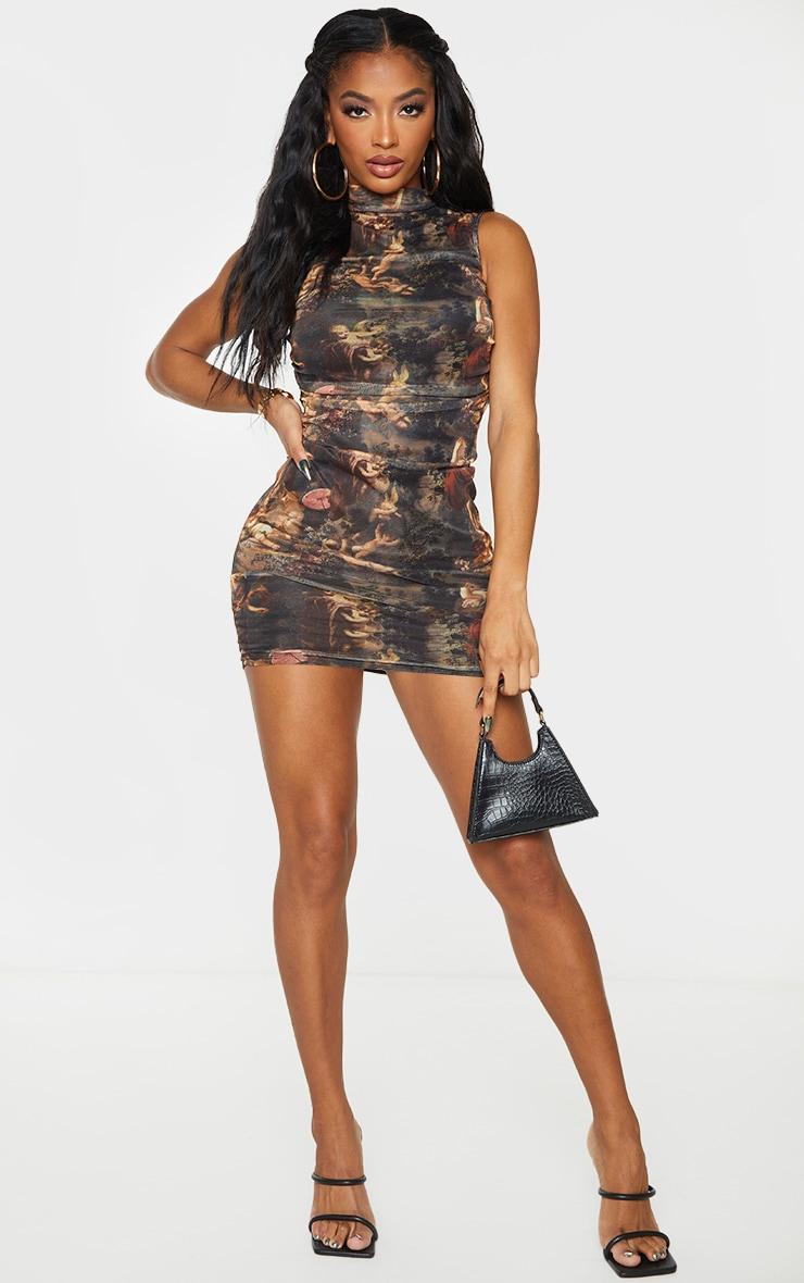 Shape Brown Renaissance Print High Neck Sleeveless Bodycon Dress 3