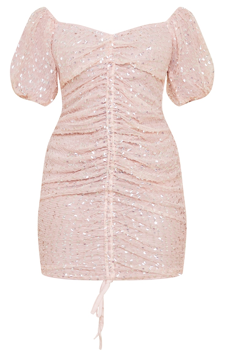 Petite Dusky Pink Sequin Ruched Detail Bodycon Dress 5