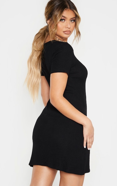 Black Brushed Rib Scoop Neck Hem Shift Dress