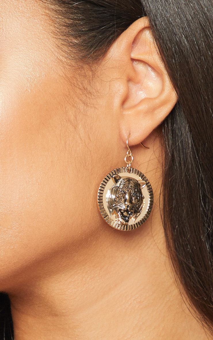 Gold Tiger Coin Drop Earrings 2