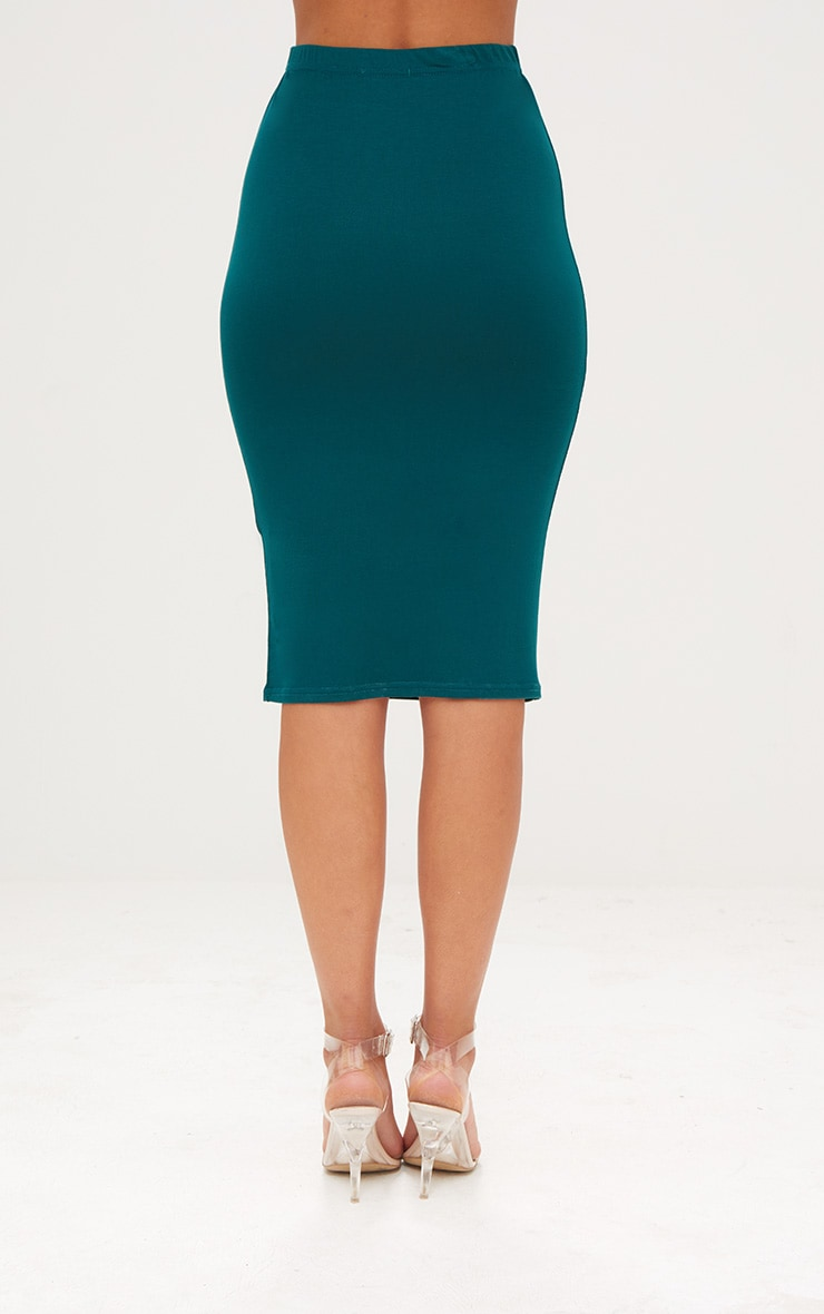 Taupe & Emerald Green 2 Pack Jersey Midi Skirt 8