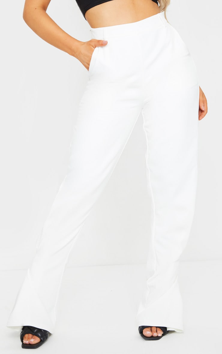 White Pleated Detail Tapered Hem Pants 2