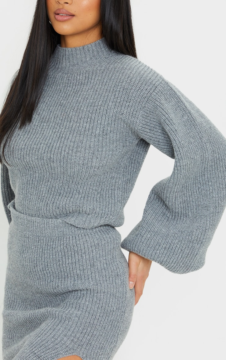 Petite Grey Oversized Balloon Sleeve Knitted Crop Sweater 4