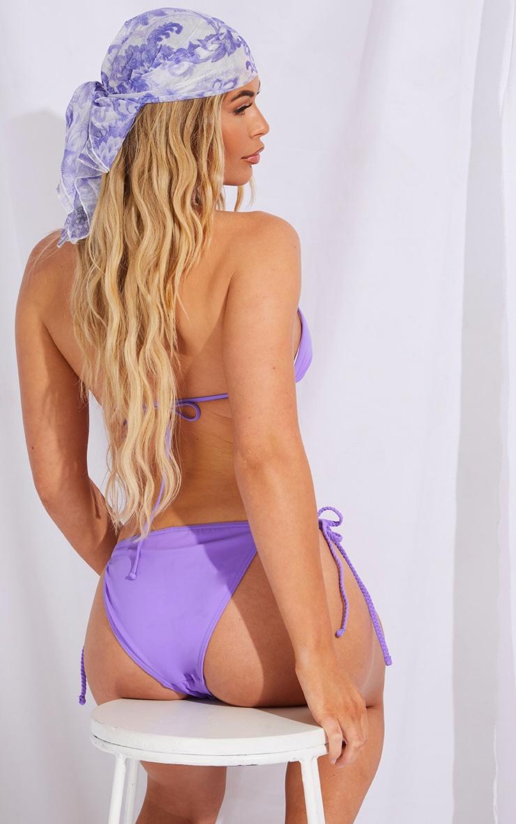 Recycled Purple Fabric Plait Triangle Bikini Top 2